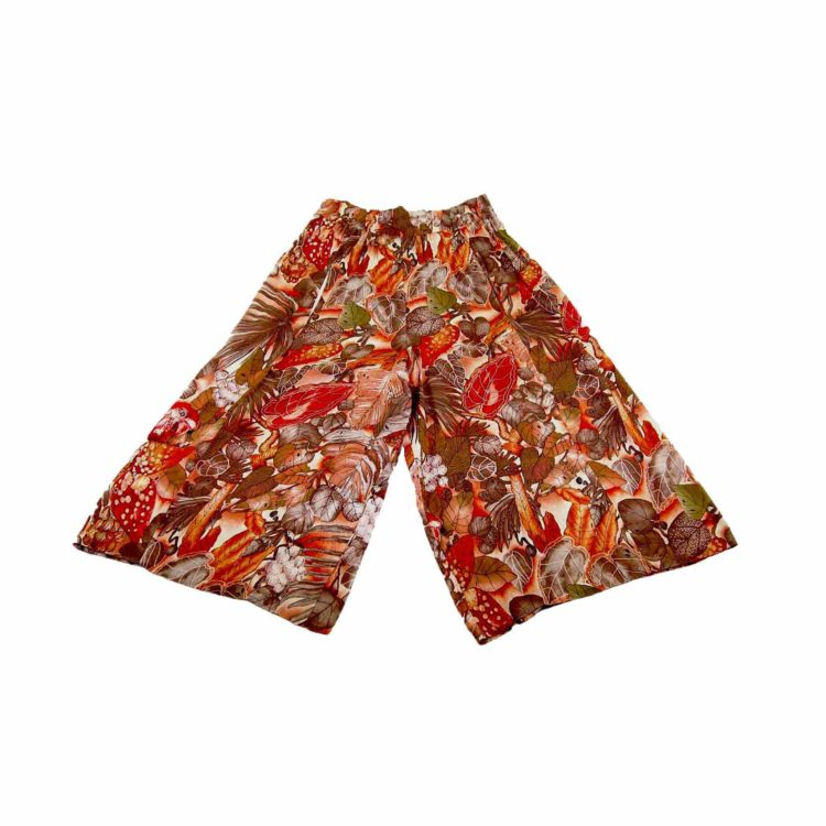 90s Orange Floral Wide Leg Culottes
