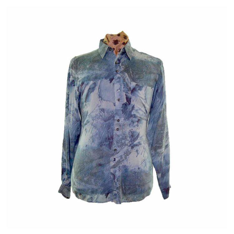80s Green Abstract Print Long Sleeve Shirt