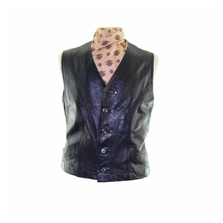 Black Authentic Leather Waistcoat