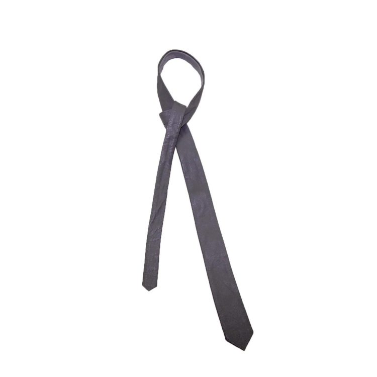 60s Slim Ice Grey Leather Tie
