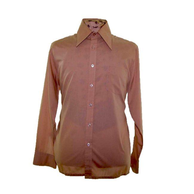 70s Tan Brown Long Sleeve Shirt