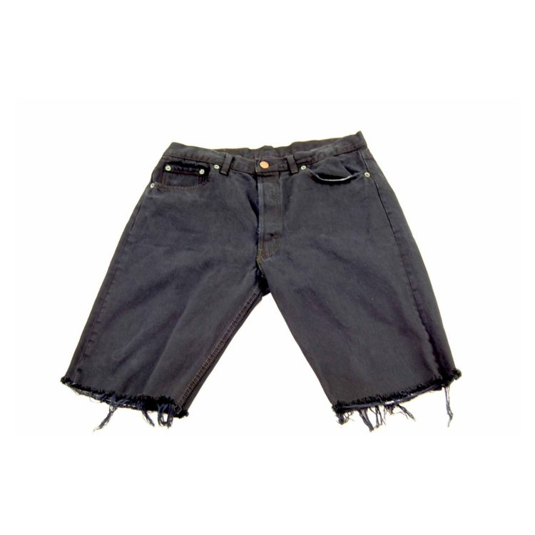 Levis Navy Denim Cropped Shorts