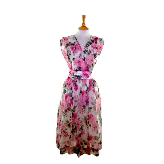 50s Pink Floral Sheer Belted Dress