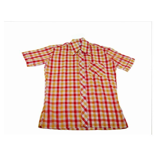 70s Colorful Gingham Short Sleeve Shirt