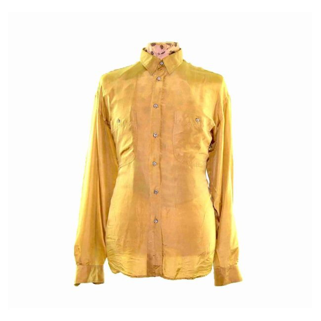 90s Gold Long Sleeve Silk Shirt