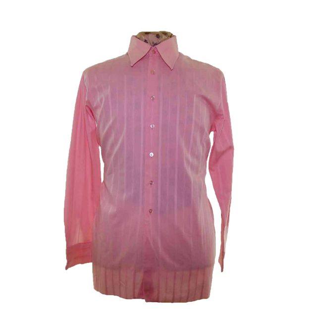 70s Pink Ribbed Long Sleeve Shirt