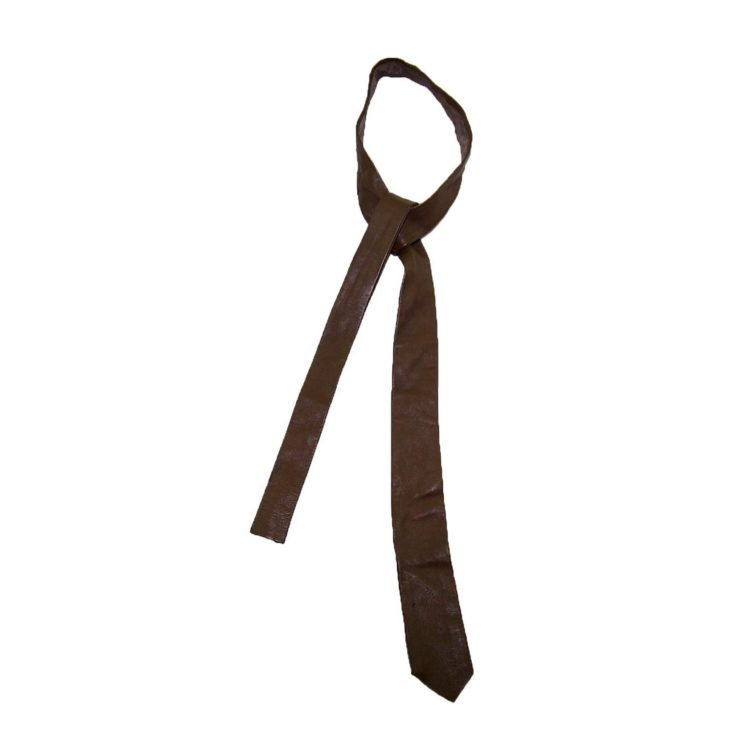 60s Slim Medium Brown Leather Tie