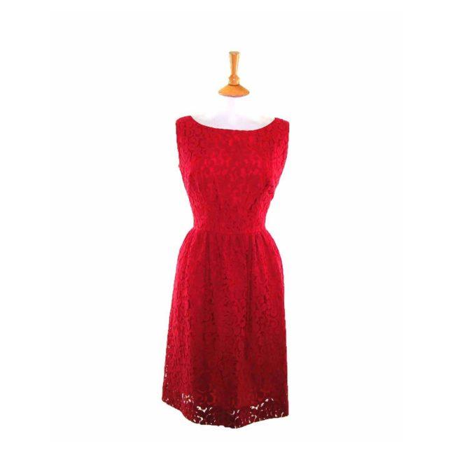 50s Dark Pink Floral Lace Dress