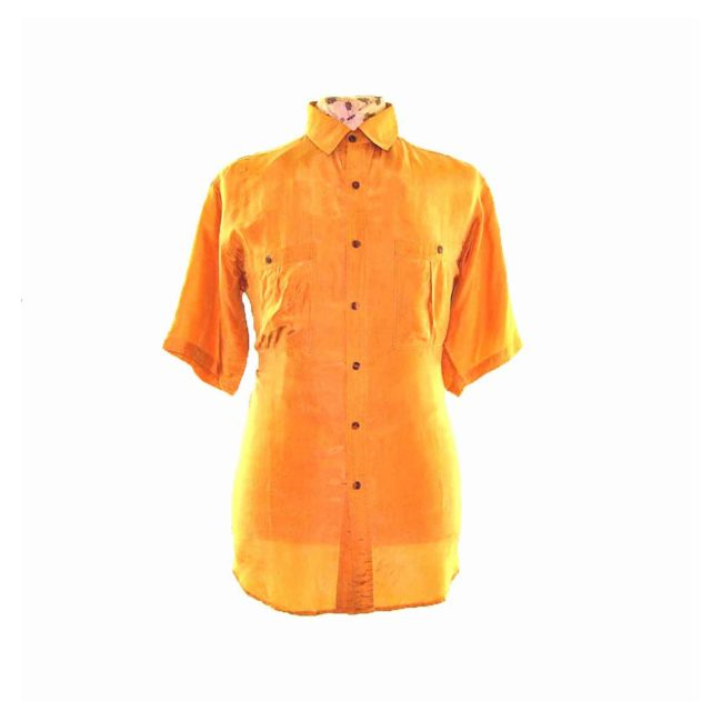 90s Mustard Yellow Short Sleeve Silk Shirt