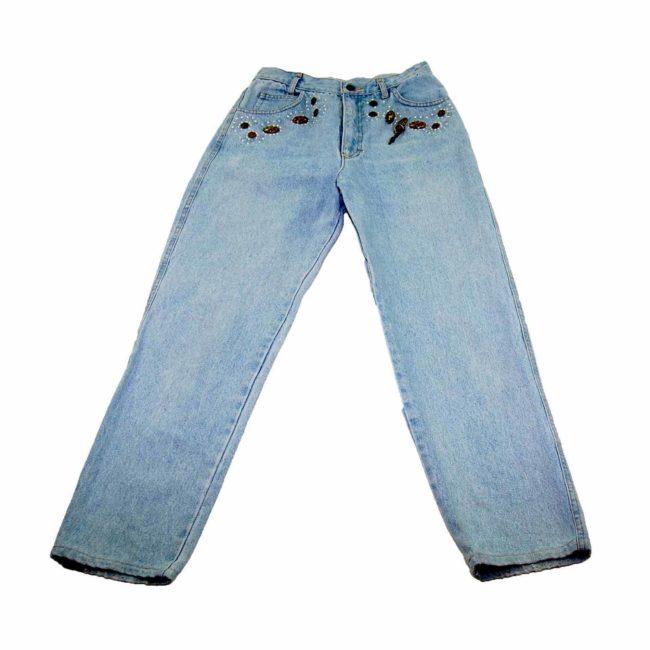90s Embellished Light Denim Mom Jeans