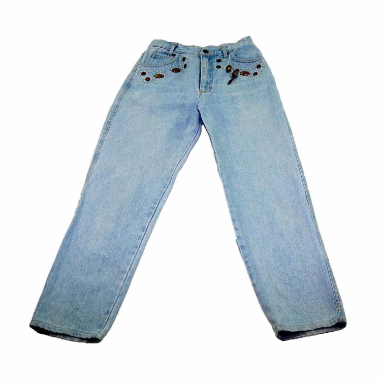 90s Embellished Light Denim Mom Jeans
