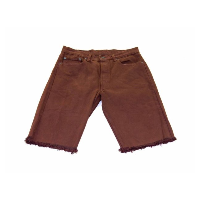 Levis Brown Denim Cropped Shorts
