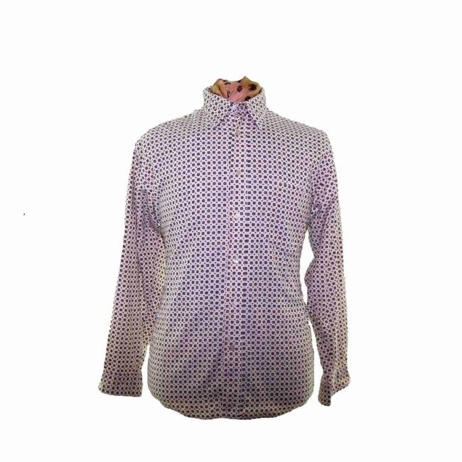 70s White Spotted Corduroy Shirt