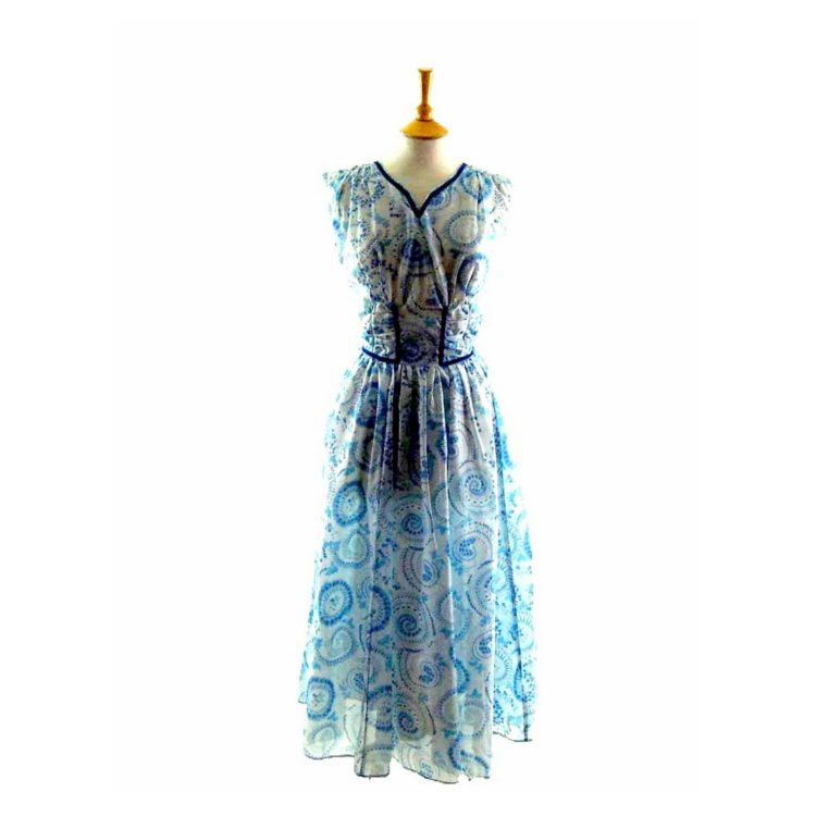 50s Sheer Blue Patterned Dress