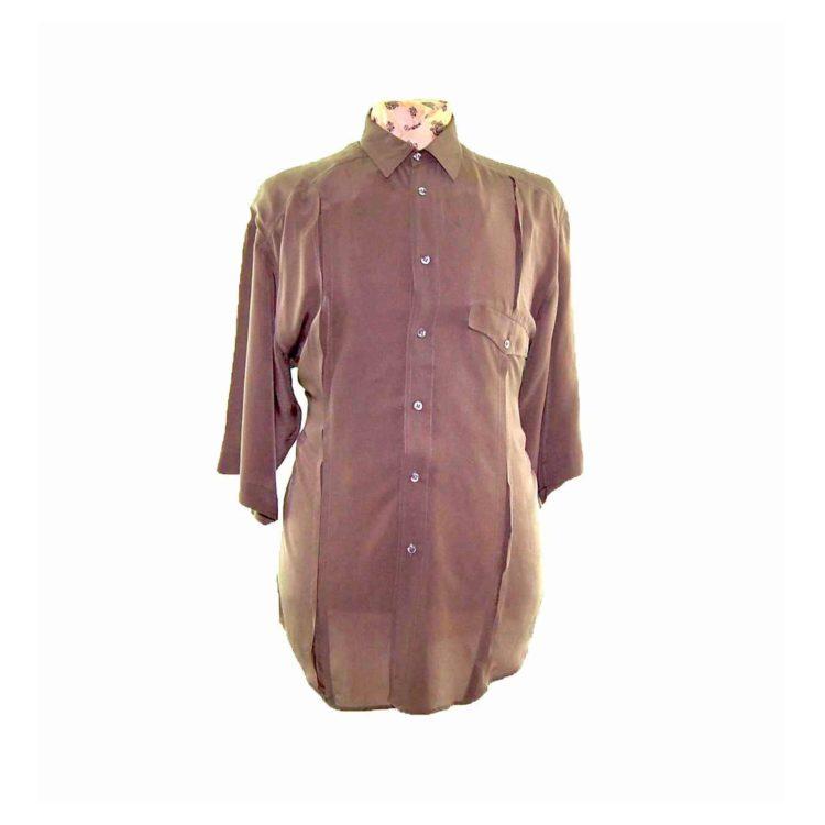 90s Khaki Short Sleeve Silk Shirt