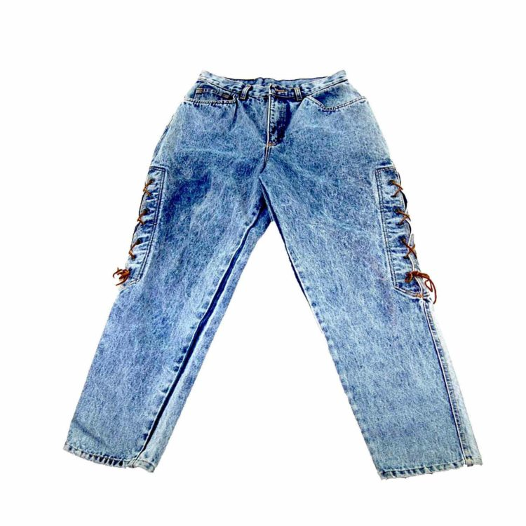 90s Lace up Acid Wash Mom Jeans