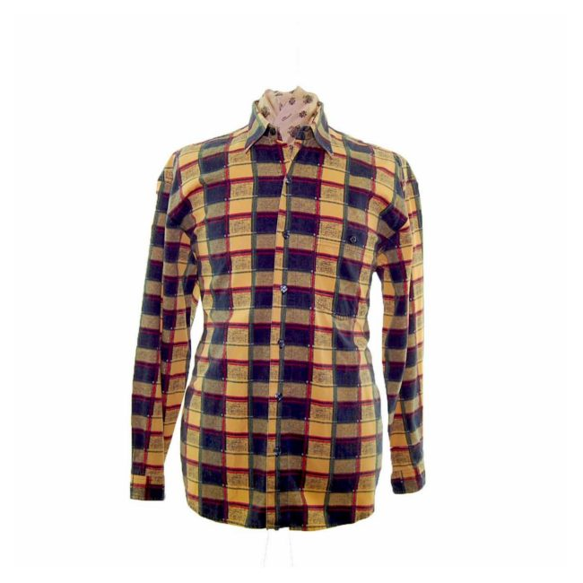 90s Yellow Check Corduroy Shirt