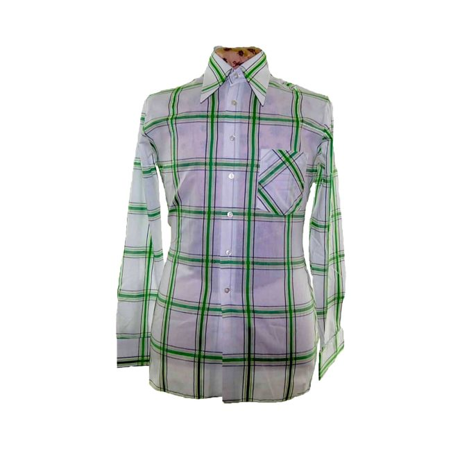 70s Green Patterned Long Sleeve Shirt