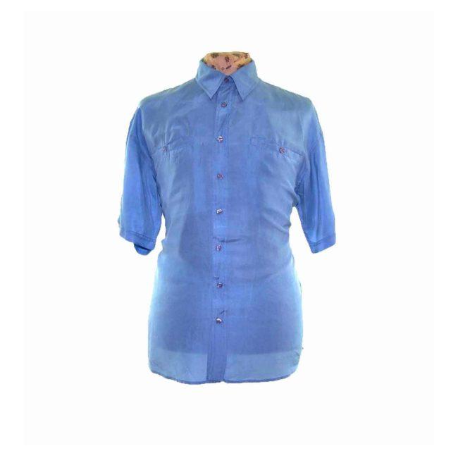 90s Light Blue Short Sleeve Silk Shirt