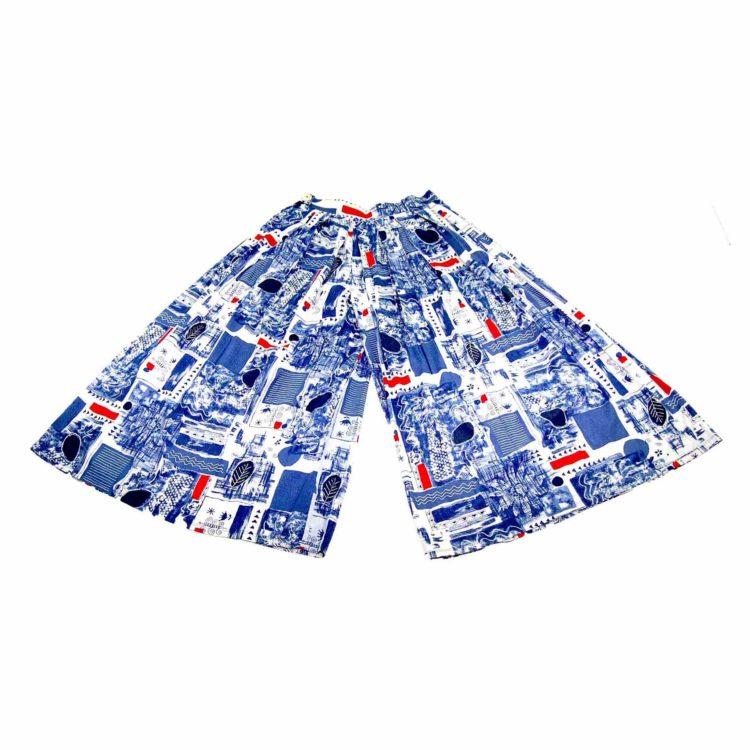 90s Blue Patterned Wide Leg Culottes