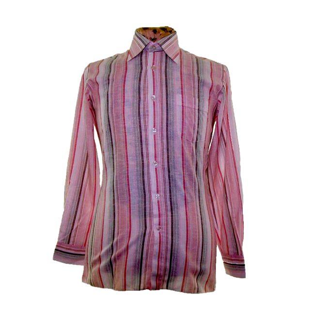70s Pink Striped Long Sleeve Shirt
