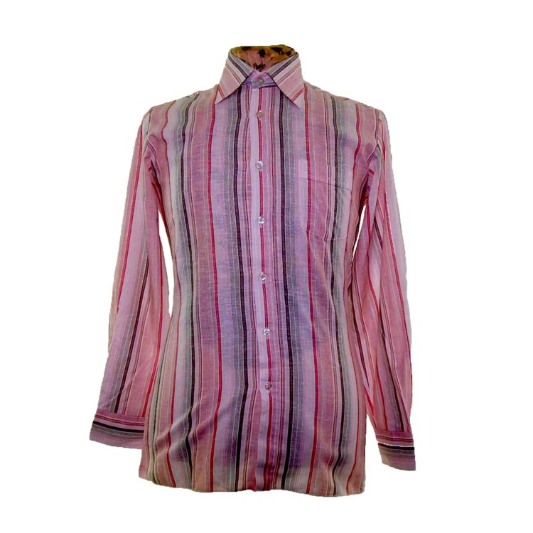 70s Pink Striped Long Sleeve Shirt