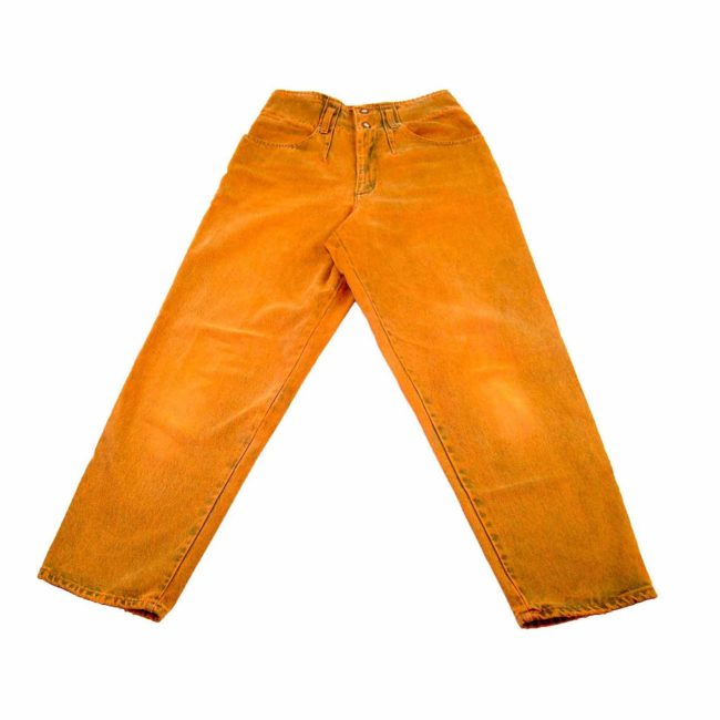 90s Orange Wash Denim Mom Jeans