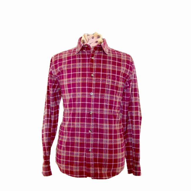 90s Plum Checked Corduroy Shirt