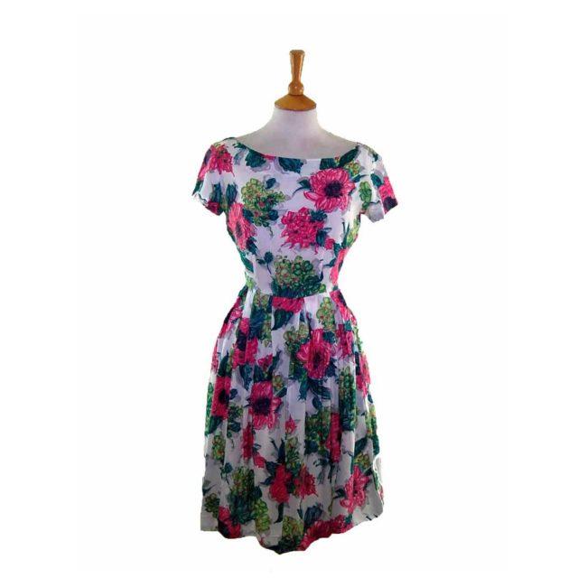 50s Pink Contrast Floral Patterned Dress