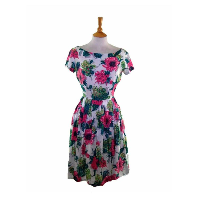 50s Pink Contrast Floral Patterned Dress