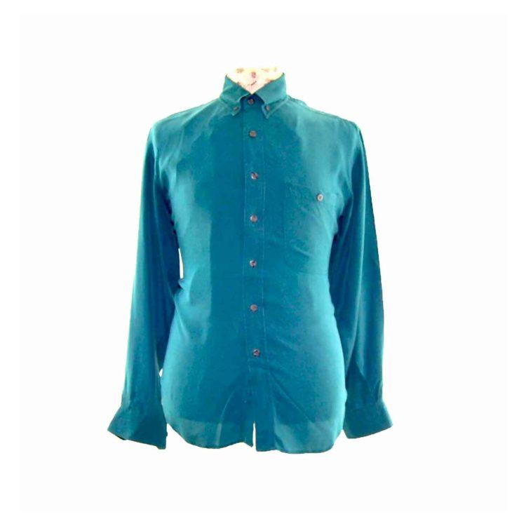 90s Dark Green Silk Shirt