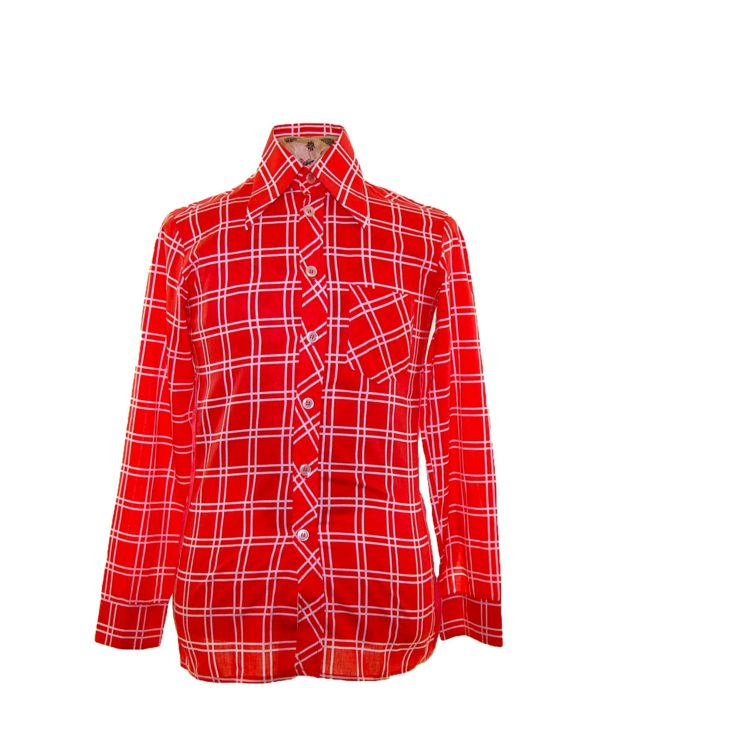 70s Red Patterned Long Sleeve Shirt