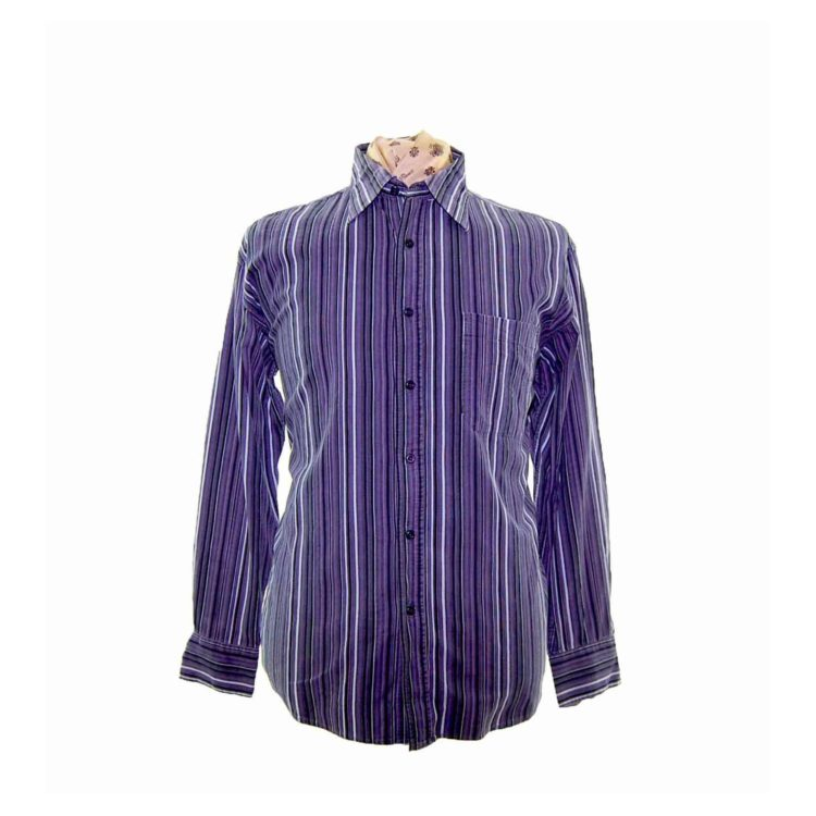 90s Purple Striped Corduroy Shirt