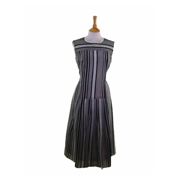 60s A line Black Striped Dress