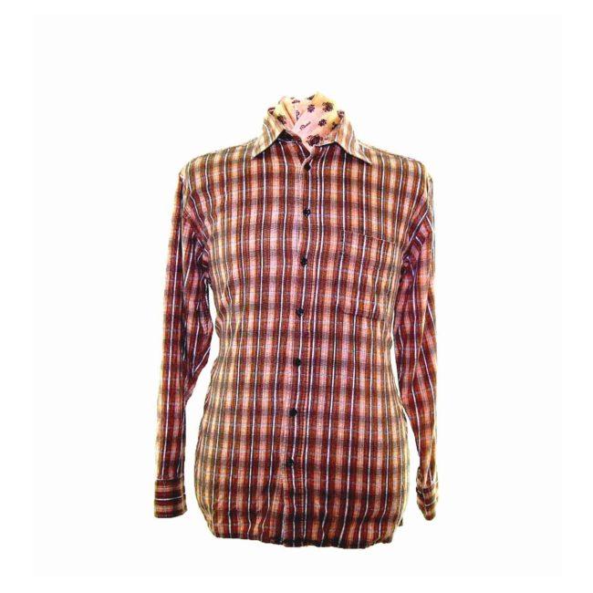 90s Tan Checked Corduroy Shirt