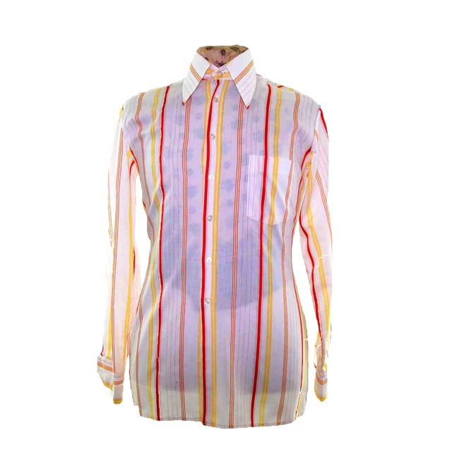 70s White Striped Long Sleeve Shirt