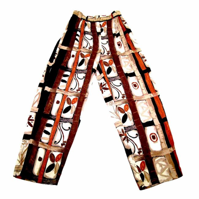 90s Brown Patterned Straight Leg Trousers