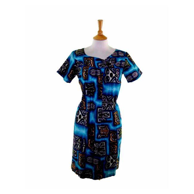 60s Hawaiian Print Shift Dress