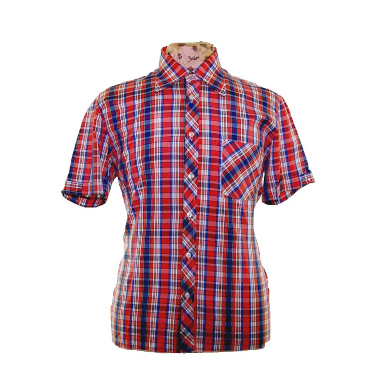 70s Primary Colored Checked Short Sleeve Shirt