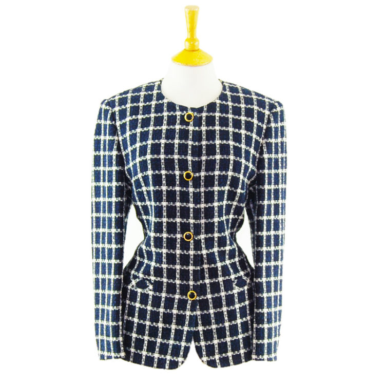90s Navy Blue Checkered Blazer