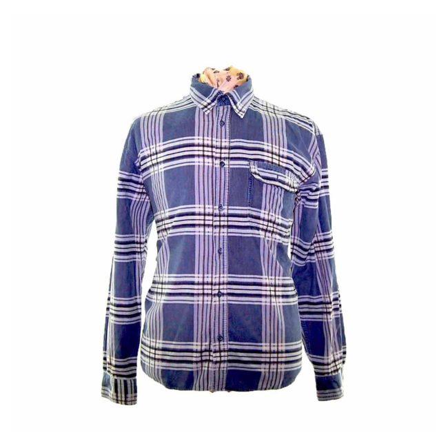 90s Grey Check Corduroy Shirt