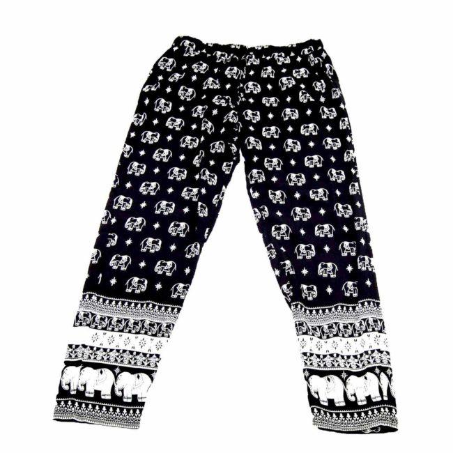 90s Black Boho Elephant Trousers