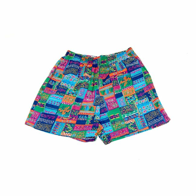 90s Patchwork Patterned Beach Shorts