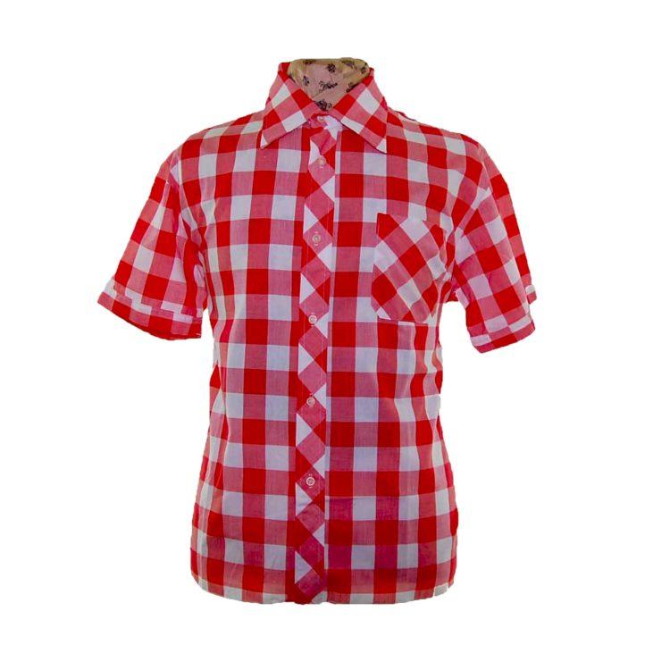 70s Red Gingham Short Sleeve Shirt