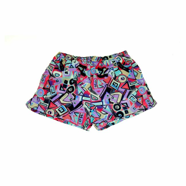 90s Abstract Colorful Patterned Beach Shorts