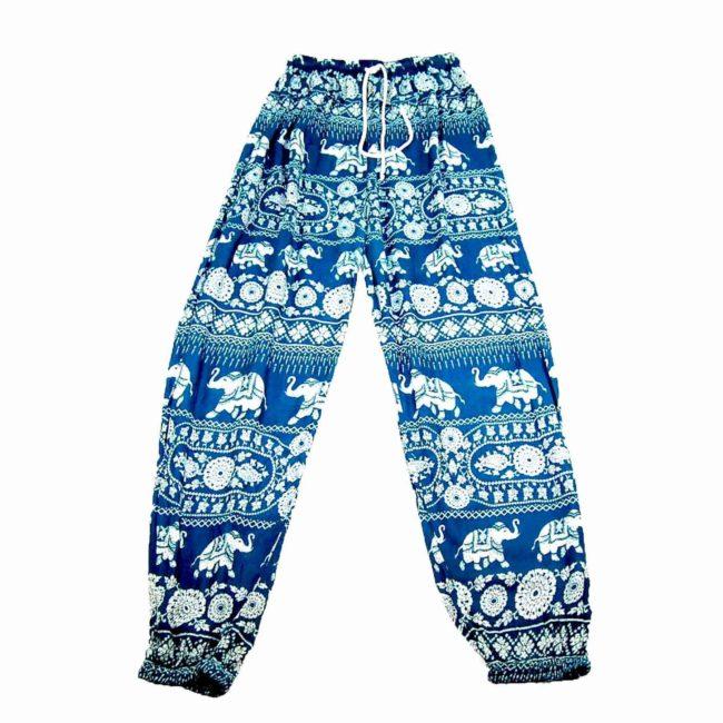 90s Boho Elephant Green Harem Pants
