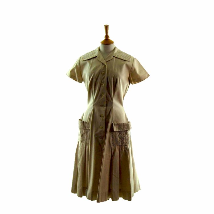 50s Beige Button Flared Dress