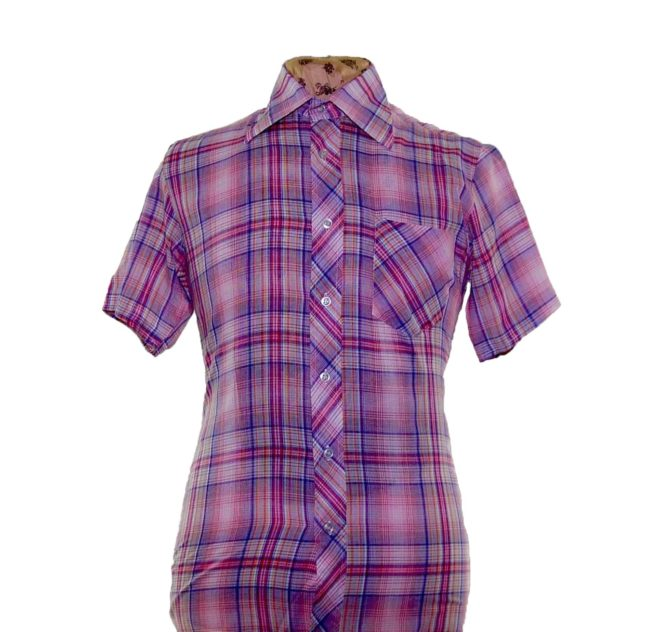 70s Purple Thin Checked Short Sleeve Shirt