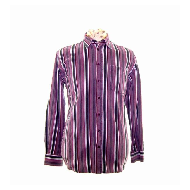 90s Plum Striped Corduroy Shirt