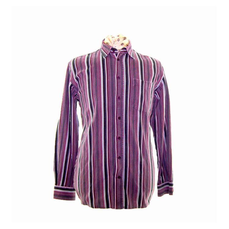 90s Plum Striped Corduroy Shirt